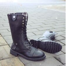 Womens Warm Mid Calf Leather Martin Boots Casual Motorcycle Lace-Up Punk Shoes