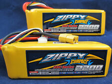 New 2 Zippy Compact 2200mAh 3S 11.1V 25C 35C Lipo Battery Pack RC XT60 XT-60 USA