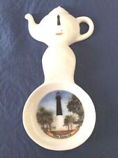 New Handmade Ceramic-Porcelain Tea Bag Spoon Rest Caddy Lighthouse Tybee Island