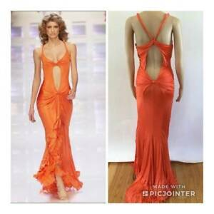 VERSACE RARE VINTAGE SS 2004 SEXY PLUNGING OPEN BACK GOWN SIZE IT 42