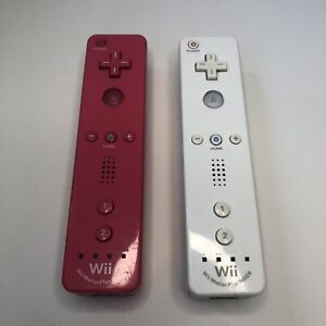 2 OEM Nintendo Wii Motion Plus Controller Pink & White Remote RVL-036 TESTED