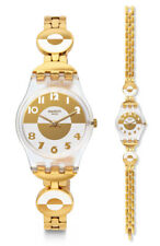 Swatch Masterglam Watch LK369G Analogue Stainless Steel Gold, White