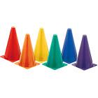 6 Pack Champion Sports Hi Visibility Fluorescent Plastic Cone Set Multi Color
