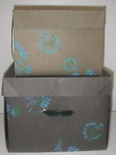 2 Vintage Filene's Boston Box cardboard Square Green w Blue Floral Mid-Century.