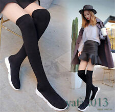 Women Stretch Knitting Thigh High Boots Over Knee Fashion Sneakers Flats Booties