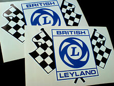 BRITISH LEYLAND Chequered Flag Race Rally Classic Car Stickers 2 off 150mm