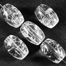 Lot de 20 perles craquelées Ovales en verre 10 x 14 mm Cristal