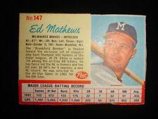 1962 Post Ed Mathews Milwaukee Braves #147 Card VG-EX