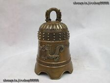China Copper Bronze Dragon King Buddhism Temple Classic Bell statue