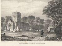 C1840 Vittoriano Stampa ~ Willesden Chiesa Middlesex London