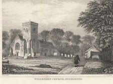 c1840 VICTORIAN PRINT ~ WILLESDEN CHURCH MIDDLESEX LONDON