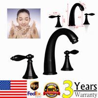 8-inch ORB Basin Bathroom Faucet Widespread 2 Handle Tub Sink Mixer Tap 3 Holes