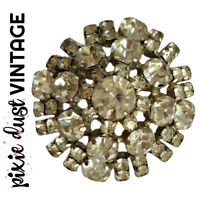 Antique Brooch Crystal Rhinestone 40s 1940s Dome Domed Pin Vintage Costume 1950s