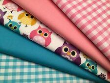 Fat Quarters Bundles Dressmaking Fabric Craft Bunting Sew Gingham Owls TWIT-TWOO