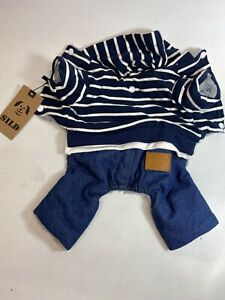 SILD Pet Clothes Dog Jeans Classic Hoodie Stripe, Size Small NEW Fur Lined NEW