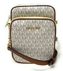 Michael Kors Jet Set Travel Medium NS Chain Crossbody Handbag Leather Signature