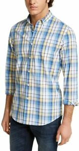 Club Room Mens Shirt Blue Yellow Size XL Plaid Long Sleeve Button Down $55 414