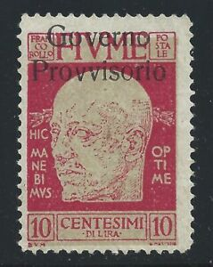 1921 Fiume, N° 176i 10 Cent. Carmin Mlh / Overprint Moved IN Alto