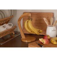 Wooden Banana Hanger Bamboo Kitchen Fruit Grapes Rack Hook Tree Storage Stand