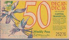 Trolly/Bus pass capital Transit Wash. DC--1950 Columbine-----56