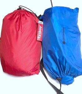 Lot 2 Fatboy USA Lamzac Inflatable Lounger RED BLUE W/ Drawstring Bags Set