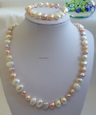 Genuine 9-11mm Baroque  freshwater pearls necklace+bracelet Multicolor L 47/18cm