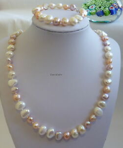 Genuine 9-10mm Baroque  freshwater pearls necklace+bracelet Multicolor L 47/18cm