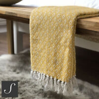 Luxury 100% Cotton Mustard Ochre Abstract Check Blanket Throw Bed Sofa Fringed