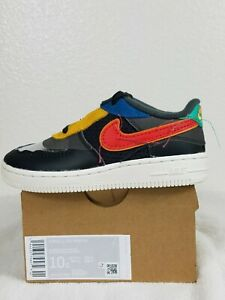 Nike Air Force 1 Black History Month QS Size 10c Shoes Grey Red [CV2416-001]
