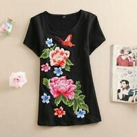 Women Chic Retro Mandarin Embroidered Short Sleeve T-Shirt Top Blouse Shirt