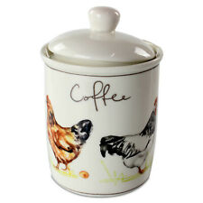 Country Life Chickens Fine China Coffee Canister Jar Home Kitchen Storage Jars