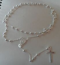 "24"" Sterling Silver Dainty 3mm Bead Child Rosary & Dangle Cross Necklace"