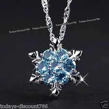 BLACK FRIDAY DEALS Xmas Gift For Her Frozen Snowflake Silver Necklace Blue Women