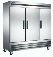 VORTEX Commercial 3 Door Reach-In Refrigerator in Stainless Steel - 72 Cu. Ft.