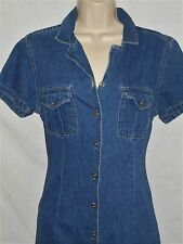 Denim Dress MED Womens 10-12 Blue Short Sleeves Cotton Little Hawk Trading 6r152