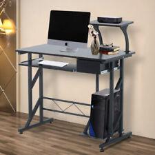 Homcom Computer Desk with Sliding Keyboard Tray Drawer - Walnut