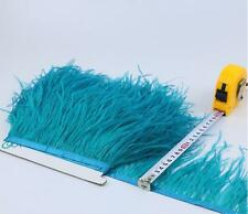 2 Plys Dark Turquois Ostrich Feather Trims Fringes Sewn on Feather 1 Yard (Usa)