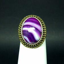 Bague réglable support bronze agate violette neuve