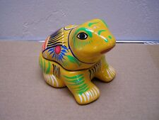 Toluca Ceramic Frog Shaped Jewelry Box with Birds and Flowers, Yellow #1- Mexico