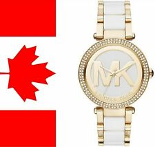 New Michael Kors Women's Parker MK6313 Gold-Tone and White Acetate Crystal Dial