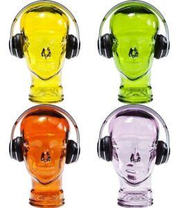 Deko Objekt Kopf Glaskopf Schädel Kopferhörerhalter verschiedene Farben Perücke