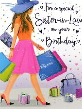 traditional sister-in-law happy birthday wishes card - 10 x cards to choose from