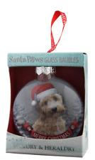 H&H Santa Paws Glass Christmas Tree Decoration Bauble Gift - Cockapoo Buff