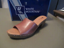 White Mountain Women's Morsel Slide Sandals, Brown Leather, 11M