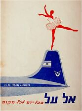 1960 Israel EL AL Unique ADVERTISEMENT Hebrew BRISTOL BRITANNIA Airlines ZIM