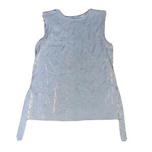 Next Size 10 Blue Sleeveless Shiny Front Top