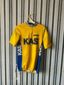Vintage KAS Mavic Cycling Jersey Top Yellow size L rare Made In Italy