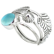NATURAL BLUE LARIMAR 925 STERLING SILVER RING JEWELRY SIZE 6 K51728