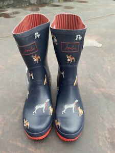 Joules Size 8 Navy & Red Dog Print Molly Mid Height Wellies **See Description
