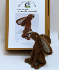 Moon Gazing Brown hare Complete Needle Felting Kit with Exmoor Sheep Fleece